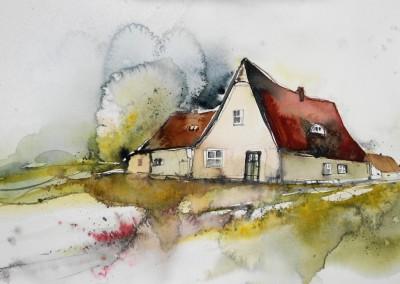 Landhaus aquarell kaufen