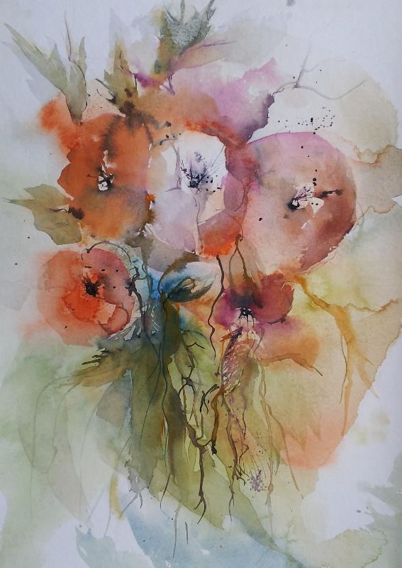 aquarelle bildergalerie mohnblumen