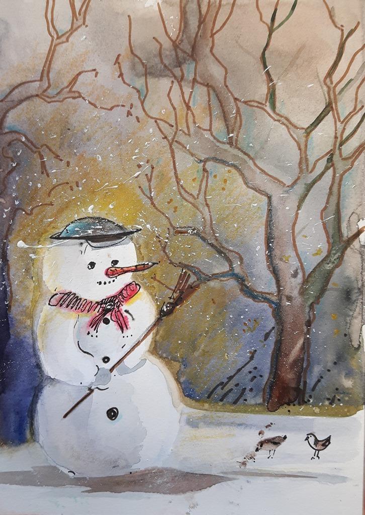 Gemalte Weihnachtskarten.Gemalte Weihnachtskarten Aquarellkunst