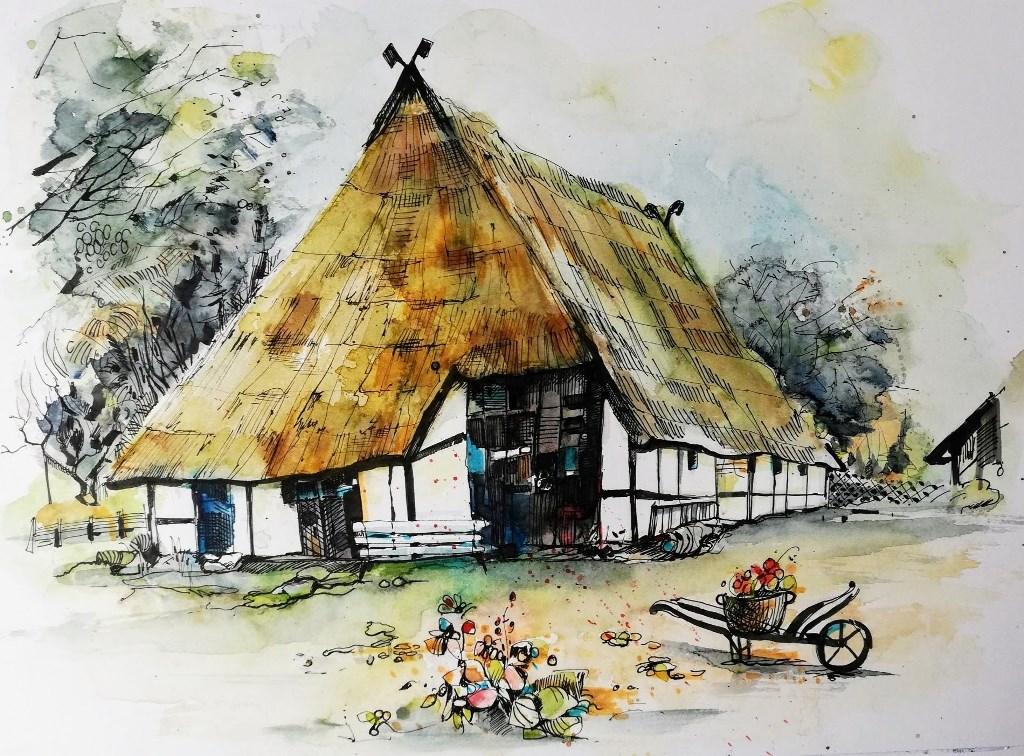 Aquarell Zeichnung Fischerhaus