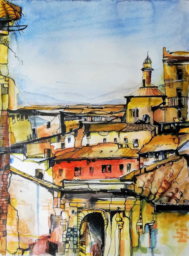 Mediteranes Dorf in Aquarell
