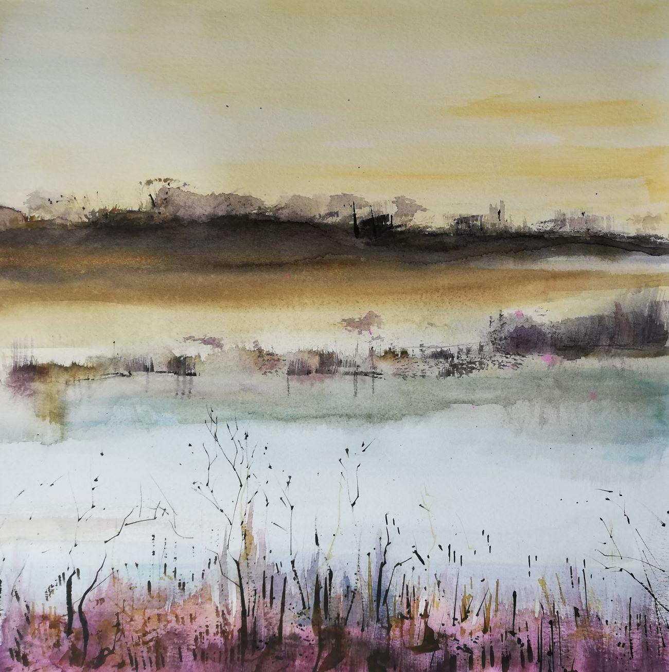 Sumpflandschaft in Aquarell