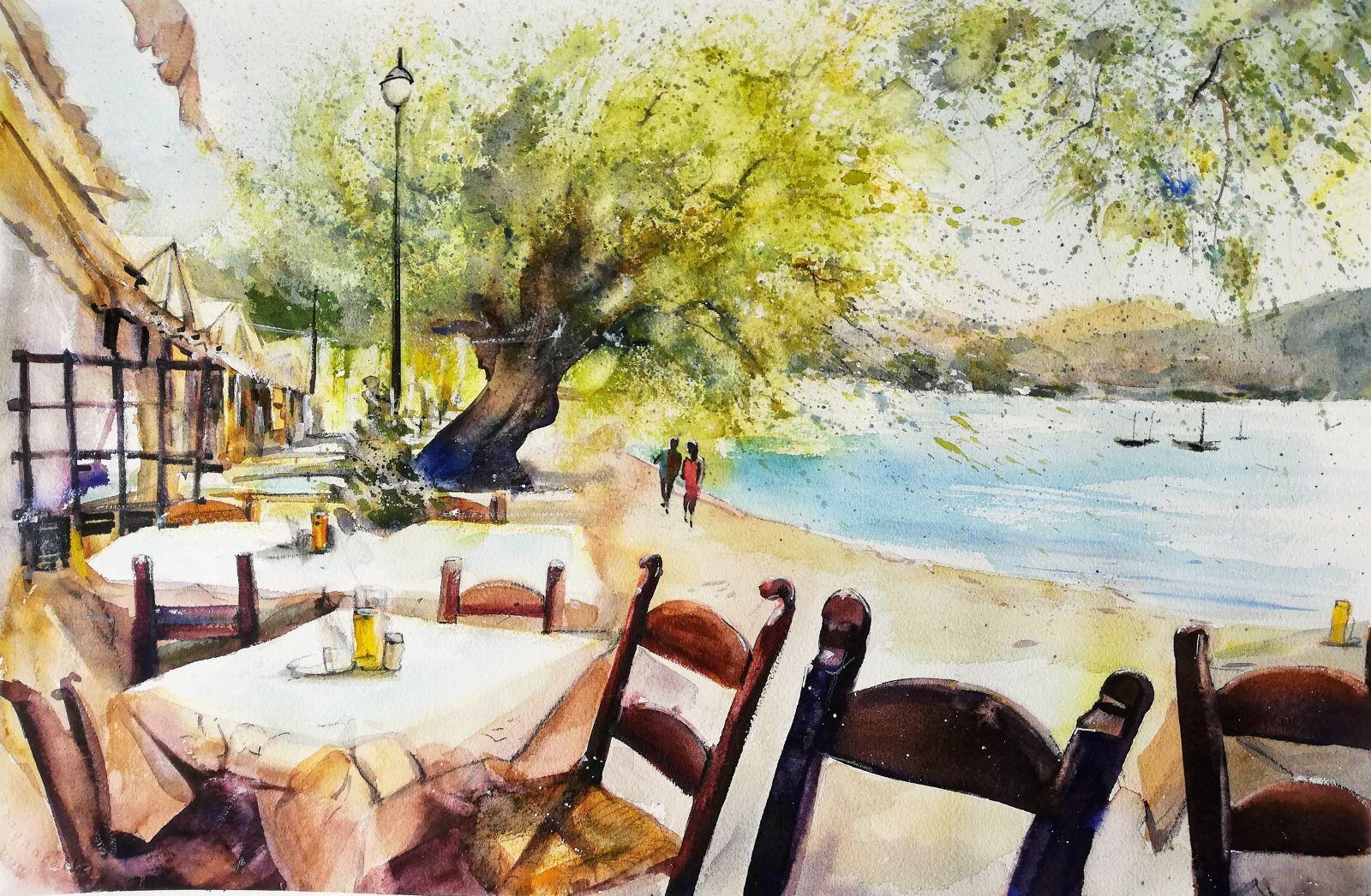 mediteranes Landschaftsaquarell