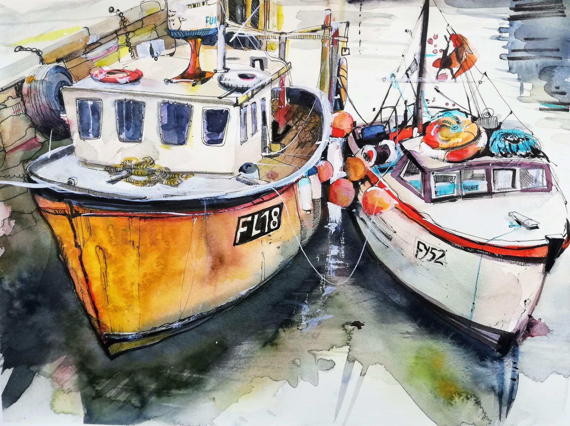 Fischerboote im Hafen Malerei