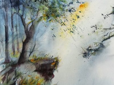 Wald Aquarellbild