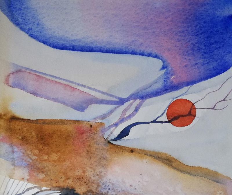 Blau-Lila Abstraktes Bild