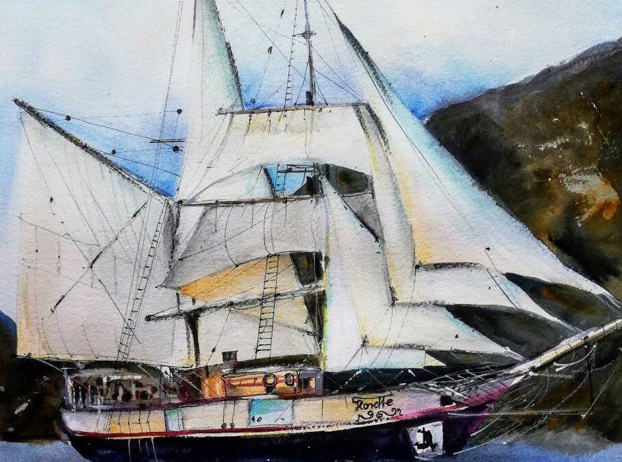 Segelschiff in Aquarell