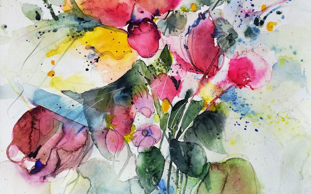 Blumenaquarell Frühjahr