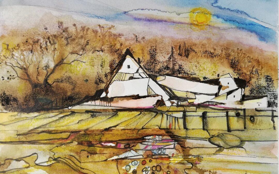 Bergdorf inspirierte Malerei