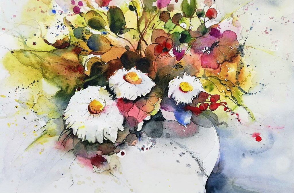 Margeriten Blumen Aquarellbild