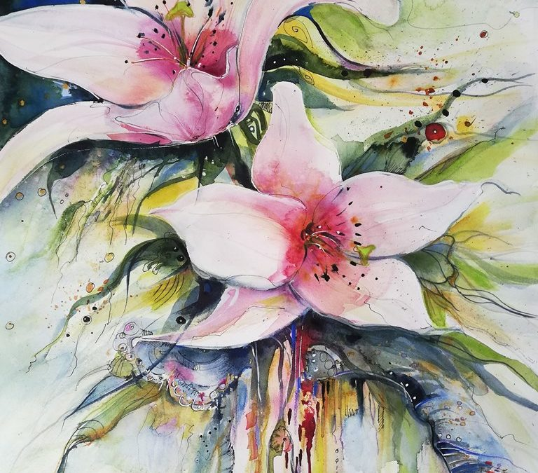 neues Lilienaquarell